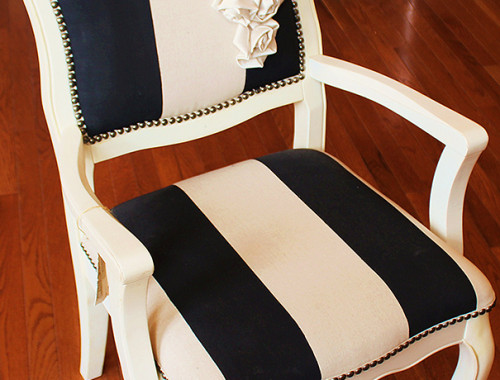 Custom Artwork Black And Ivory Chair
